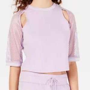 Womens Cut-out mash-sleeve top